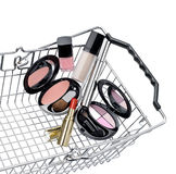 Shopping basket. With a make up set Royalty Free Stock Images