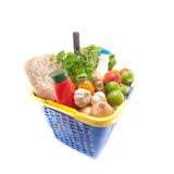 Shopping basket. With groceries isolated on white stock photo