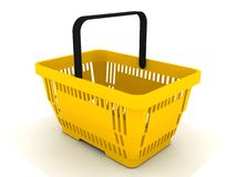 Shopping basket. Yellow shopping basket on white background royalty free illustration