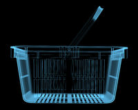 Shopping basket. (3D x-ray blue transparent isolated on black Royalty Free Stock Photography