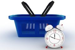 Shopping basket with a Alarm clock Stock Images