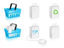 Shopping Basket and Bag Icons Royalty Free Stock Photo