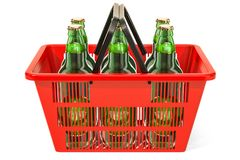 Shopping basket with beer bottles. 3D rendering. Isolated on white background Royalty Free Stock Photo