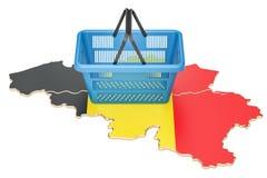 Shopping basket on Belgium map, market basket or purchasing power Stock Photo
