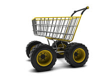 Shopping basket with big wheels Royalty Free Stock Images