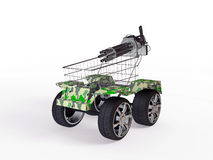Shopping basket with big wheels Royalty Free Stock Photo