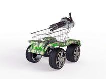 Shopping basket with big wheels Royalty Free Stock Photo