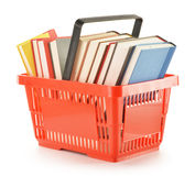 Shopping basket with books isolated on white Royalty Free Stock Image