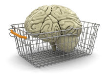 Shopping Basket and brain (clipping path included) Stock Image