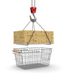 Shopping Basket  and Bricks (clipping path included) Royalty Free Stock Photography