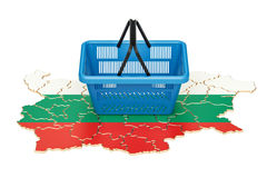 Shopping basket on Bulgarian map, market basket or purchasing po. Wer in Bulgaria concept. 3D Royalty Free Stock Images