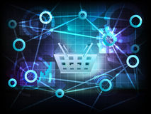 Shopping basket in business world transfer network vector Stock Image
