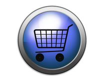 Shopping basket button Stock Photography