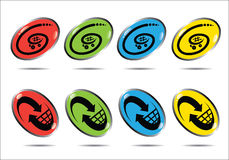 Shopping basket buttons Stock Photography