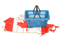 Shopping basket on Canadian map, market basket or purchasing pow. Er in Canada concept. 3D rendering Stock Photos