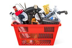 Shopping basket with car parts, 3D rendering royalty free illustration