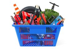 Shopping basket with car tools, equipment and accessories. 3D re. Ndering isolated on white background Stock Images