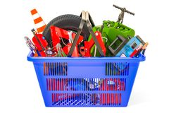 Shopping basket with car tools, equipment and accessories. 3D re. Ndering isolated on white background Royalty Free Stock Image