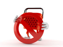 Shopping basket character with forbidden sign. Isolated on white background Royalty Free Stock Images