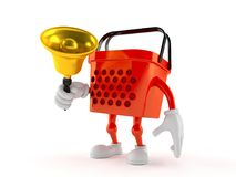 Shopping basket character ringing a handbell. On white background Stock Photography