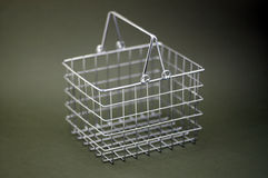 Shopping basket in chrome Royalty Free Stock Images