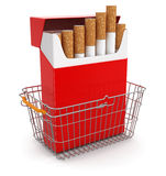 Shopping Basket and Cigarette Pack (clipping path included) Royalty Free Stock Photos