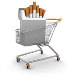 Shopping Basket and Cigarette Pack (clipping path included) Royalty Free Stock Images