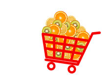 Shopping basket with citrus fruits Stock Image
