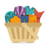 Shopping basket with clothes. Flat style vector illustration Stock Images