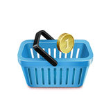 Shopping basket and coin. Purchasing power parity. Vector illustration Stock Image