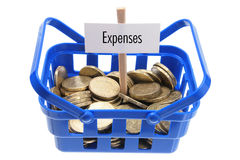 Shopping Basket with Coins Royalty Free Stock Photo