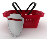 Shopping basket colorful and Shield. Concept of saving money Stock Photo