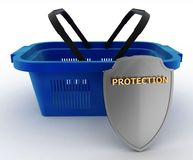 Shopping basket colorful and Shield. Concept of saving money Stock Photos