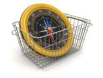 Shopping Basket and Compass (clipping path included) Royalty Free Stock Image