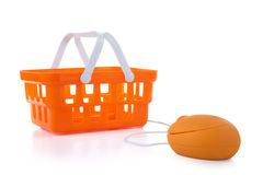 Shopping Basket. Computer mouse connected to shopping basket Royalty Free Stock Images