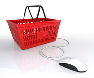 Shopping Basket Connected to Mouse Stock Images