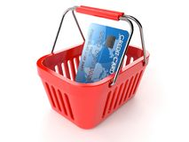 Shopping basket with credit card Stock Photos