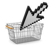 Shopping Basket and Cursor (clipping path included) Royalty Free Stock Photography