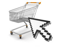 Shopping Basket and Cursor (clipping path included) Stock Images