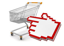 Shopping Basket and Cursor (clipping path included) Royalty Free Stock Images