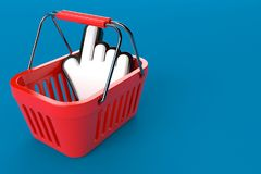Shopping basket with cursor. Isolated on blue background. 3d illustration Stock Photos