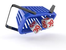 Shopping basket with dice. On white background Stock Photo