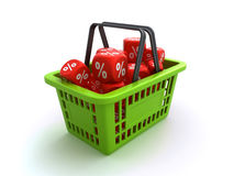 Shopping basket with discount dice Stock Image