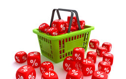 Shopping basket with discount dice Royalty Free Stock Photo