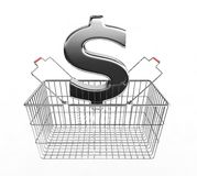 Shopping basket and dollar sign Royalty Free Stock Images