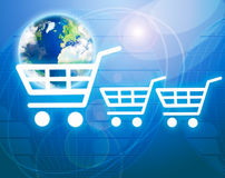 Shopping basket with earth Royalty Free Stock Photos