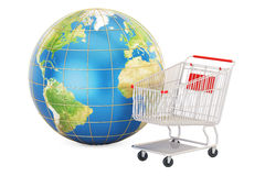 Shopping basket with Earth globe, online shopping concept Stock Photos