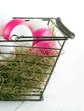 Shopping basket with easter eggs Stock Image