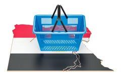 Shopping basket on Egyptian map, market basket or purchasing pow stock illustration