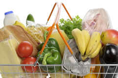 Shopping basket filled with groceries.